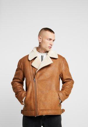MALMO BIKER - Faux leather jacket - brown