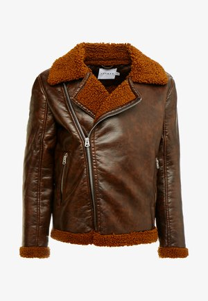 BIKER SHEARLING - Faux leather jacket - brown