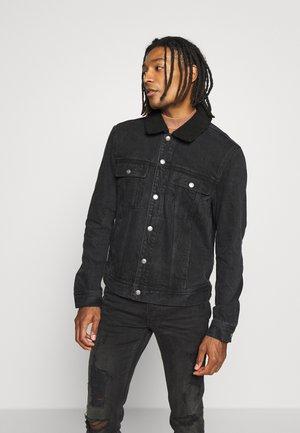 POPPER TRUCKER - Denim jacket - black