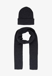 Topman - DUSTIN BEANIE AND BASIC SCARF SET - Bufanda - charcoal - 1