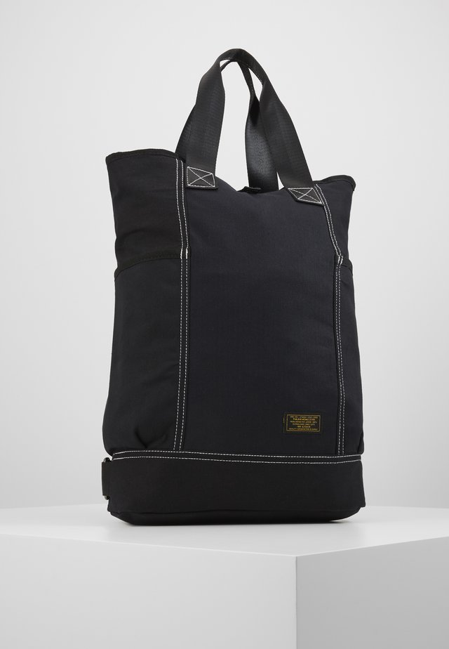 BLK HERRINGBONE/RIPSTOP TOTE BACKPACK - Shopping Bag - black