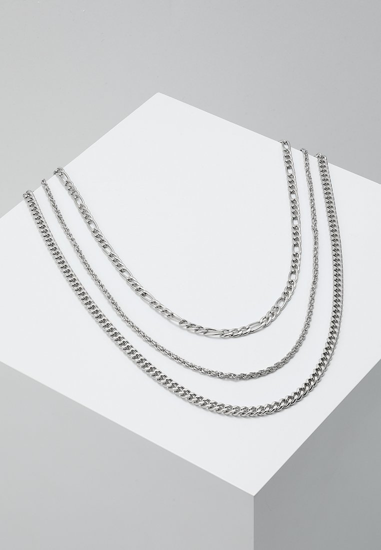 Topman - MULTIROW CHAIN 3 PACK - Necklace - silver-coloured