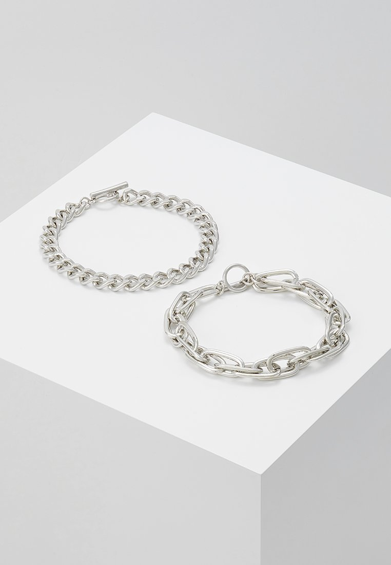 Topman - INDUSTRIAL BAR 2 PACK - Bransoletka - silver-coloured