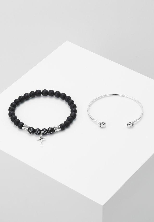 CROSS AND SKULL BRACELET SET - Armband - silver-coloured/black