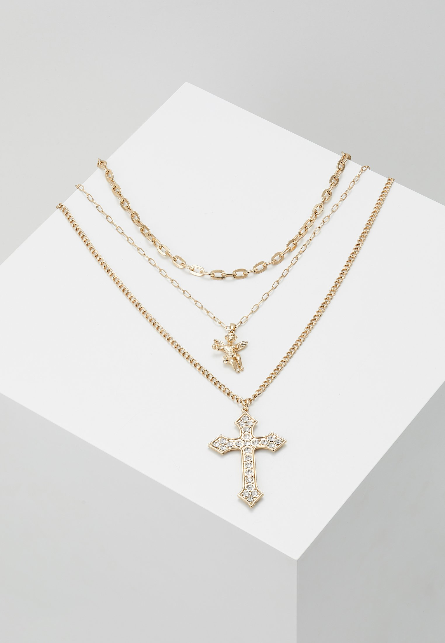 And coloured Cross NecklaceCollier Gold Topman Cherub Chunky Chain qzMLSVpGU