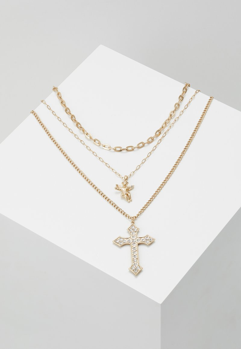 Topman - CHERUB CROSS AND CHUNKY CHAIN NECKLACE - Collana - gold-coloured