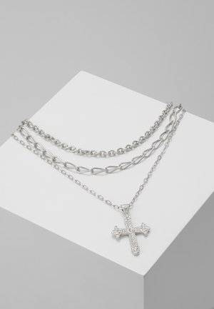 RUBY CROSS NECKLACE - Collana - silver-coloured