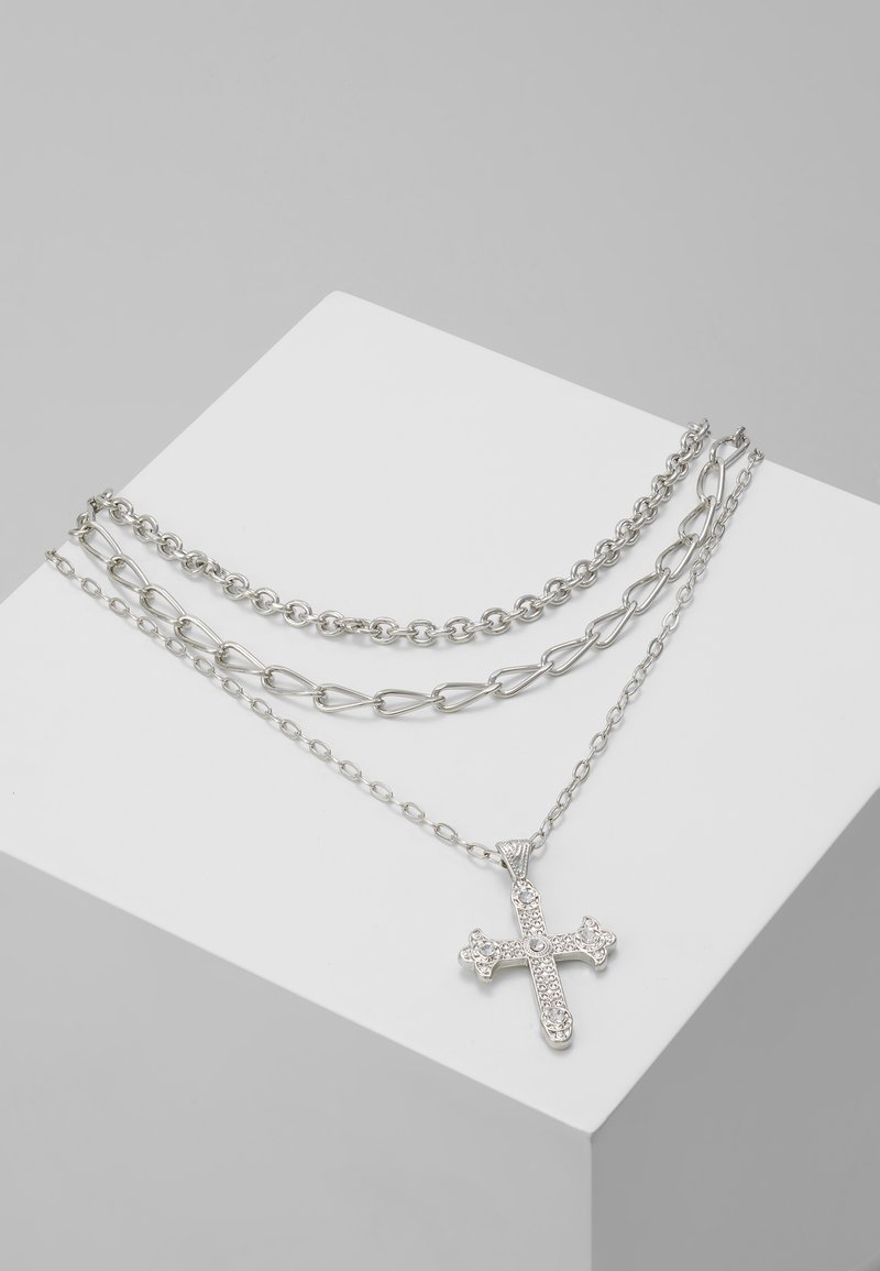 Topman - RUBY CROSS NECKLACE - Halskæder - silver-coloured