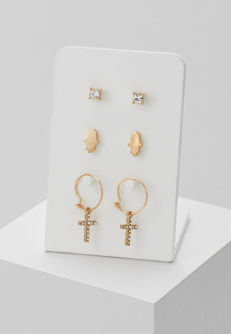 Topman - CROSS AND FATIMA HAND 3 PACK - Pendientes - gold-coloured