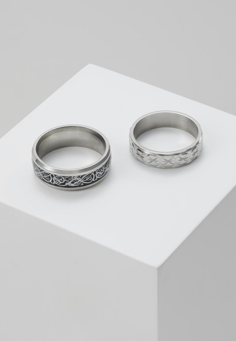 Topman - PINKY ETCHED RING SET - Sormus - silver-coloured