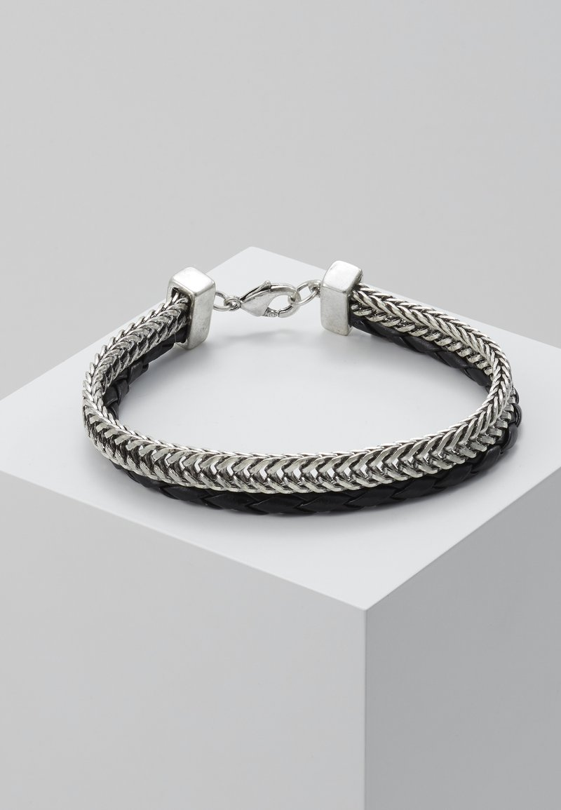 Topman - LEATHER AND CHAIN PACK - Bracelet - silver-coloured