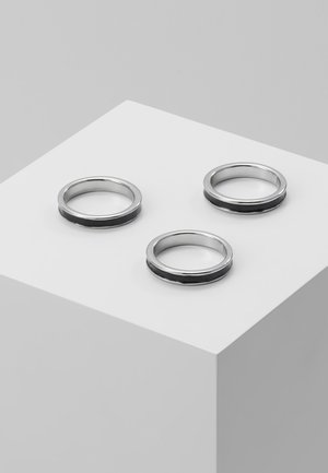 ENAMEL INLAY BANDS 3 PACK - Ring - silver-coloured