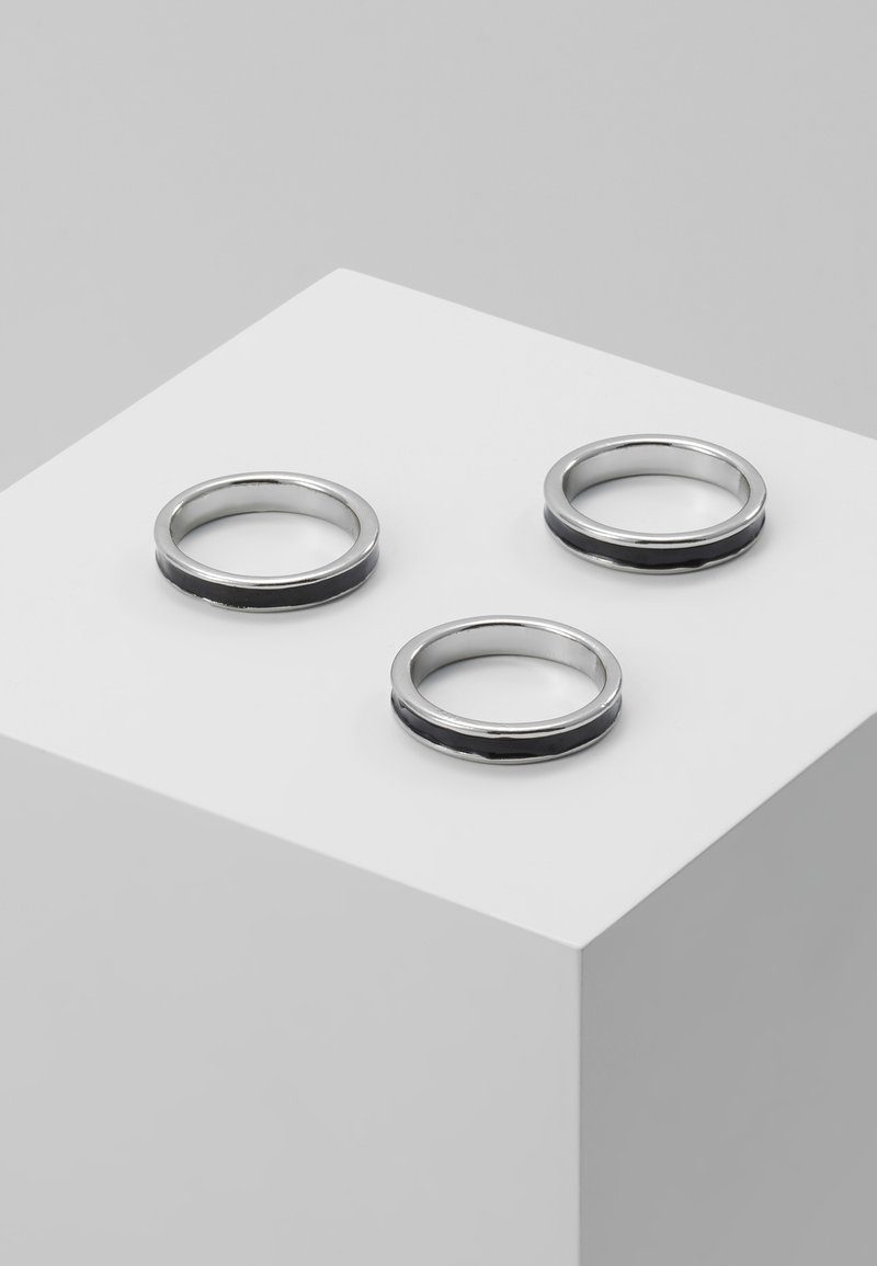 Topman - ENAMEL INLAY BANDS 3 PACK - Ring - silver-coloured
