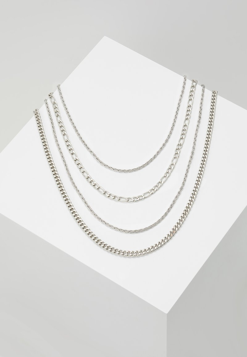 Topman - TWIST CHAIN MROW 4 PACK - Necklace - rhodium-coloured