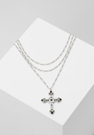 JEWELLED FIGARO CHAIN CROSS - Náhrdelník - silver-coloured
