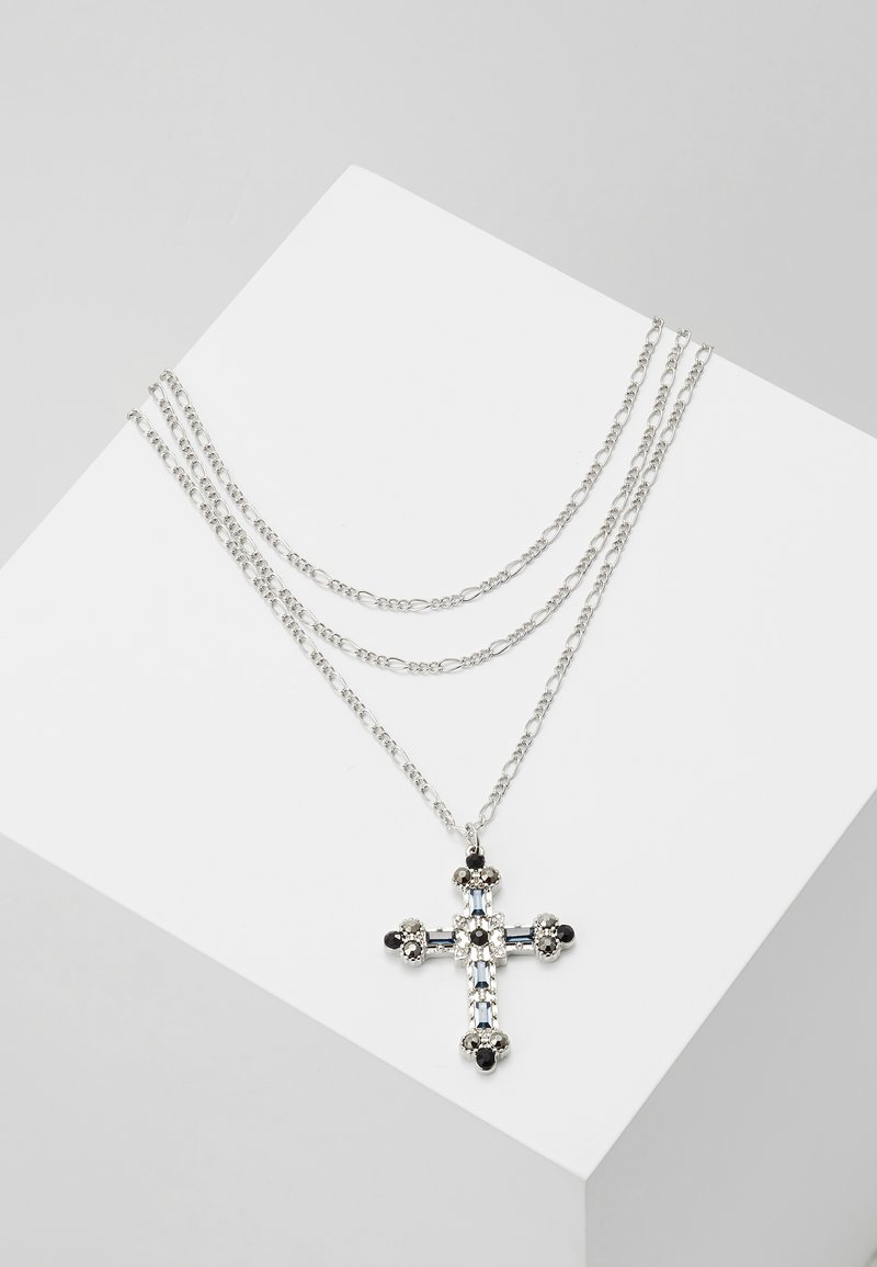 Topman - JEWELLED FIGARO CHAIN CROSS - Necklace - silver-coloured