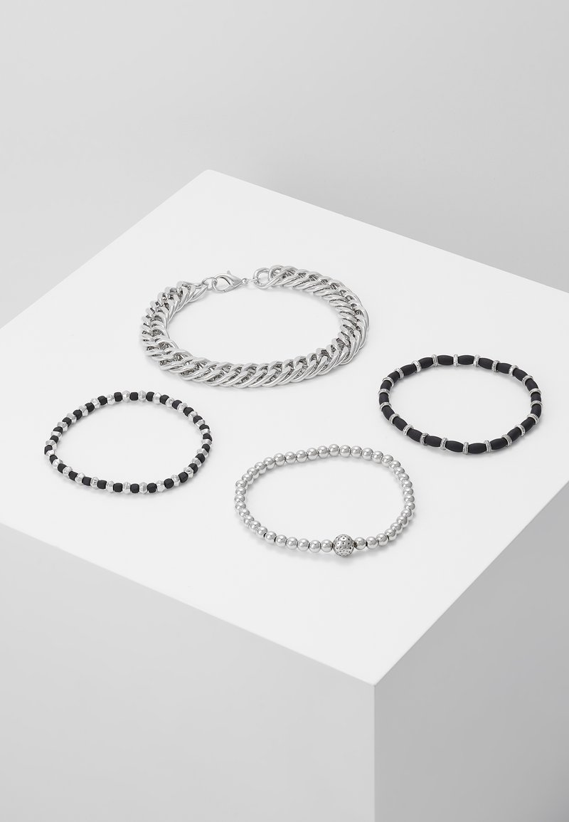 Topman - CHUNKY LAYERED WRISTWEAR - Armband - silver-coloured