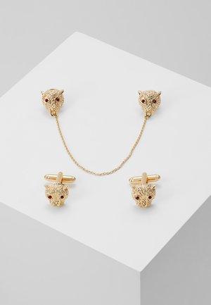 LION CUFFLINK COLLAR TIP SET - Andet - gold-coloured