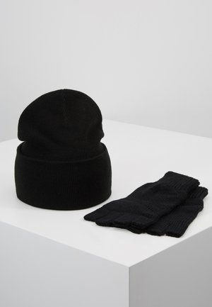 SET SKATER BEANIE AND FINGERLESS GLOVES SET - Rukavice - black