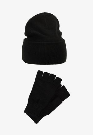 SET SKATER BEANIE AND FINGERLESS GLOVES SET - Guanti - black