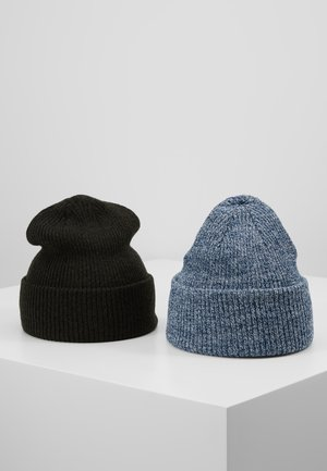 DUSTIN BEANIE DENIM 2PACK - Beanie - mottled blue/dark olive