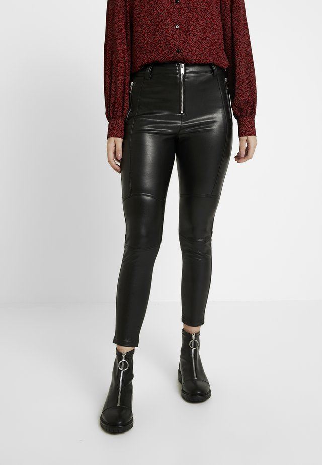 BIKER - Spodnie materiałowe - black