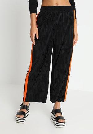 SIDE STRIPE PLISSE - Trousers - black