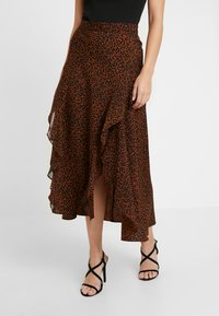 Topshop Petite - LEOPARD RUFFLE MIDAXI - A-snit nederdel/ A-formede nederdele - multi - 0