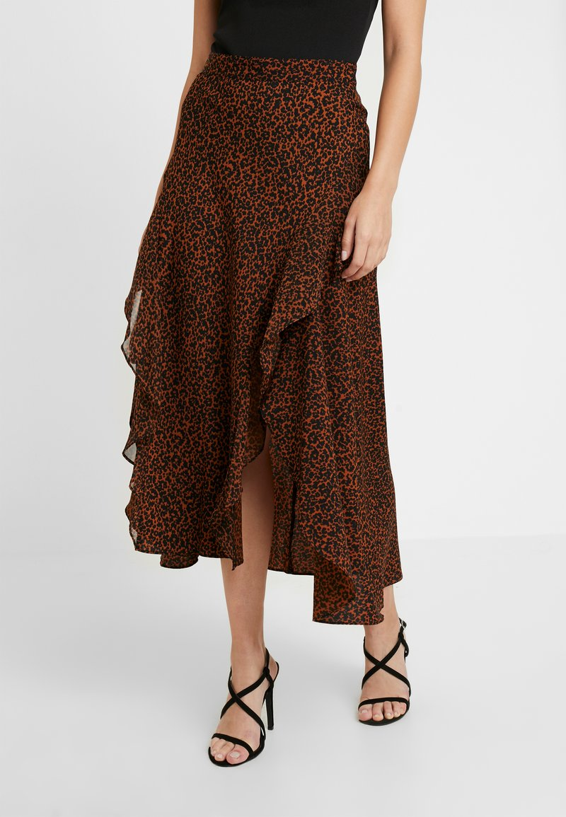 Topshop Petite - LEOPARD RUFFLE MIDAXI - A-snit nederdel/ A-formede nederdele - multi