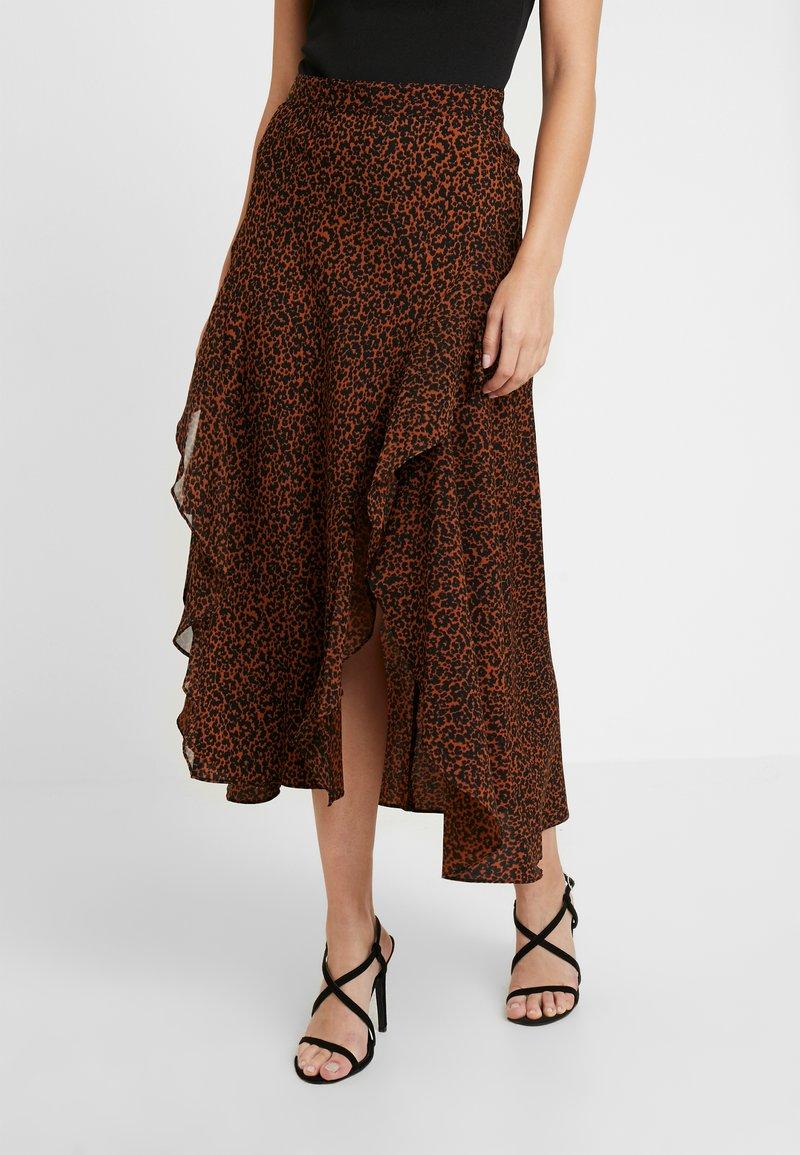 Topshop Petite - LEOPARD RUFFLE MIDAXI - A-line skirt - multi