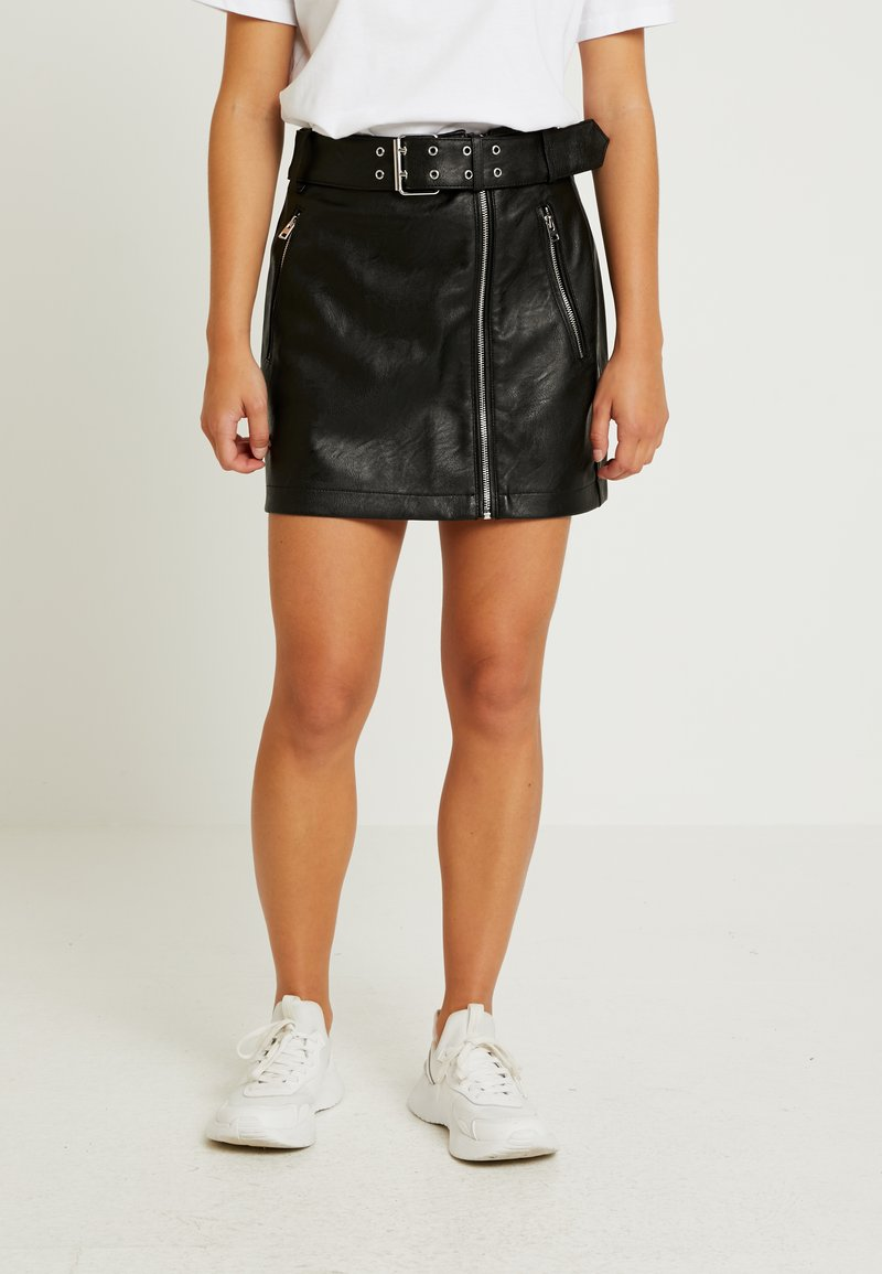 Topshop Petite - HARDWEAR DETAIL - A-snit nederdel/ A-formede nederdele - black