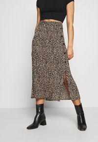 Topshop Petite - LEO CRYSTAL PLEAT - Gonna a campana - brown - 0