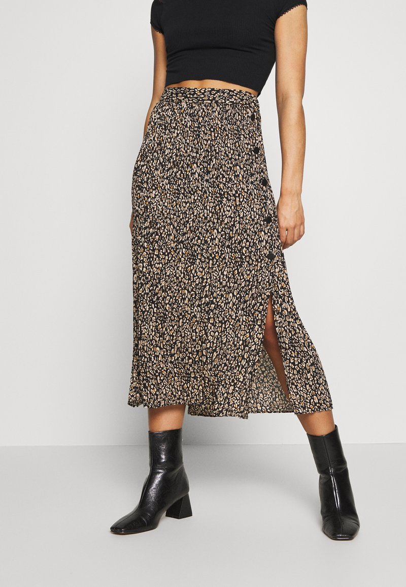 Topshop Petite - LEO CRYSTAL PLEAT - Gonna a campana - brown
