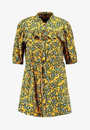 FLORAL PLEAT TRIM MINI DRESS - Shirt dress - yellow