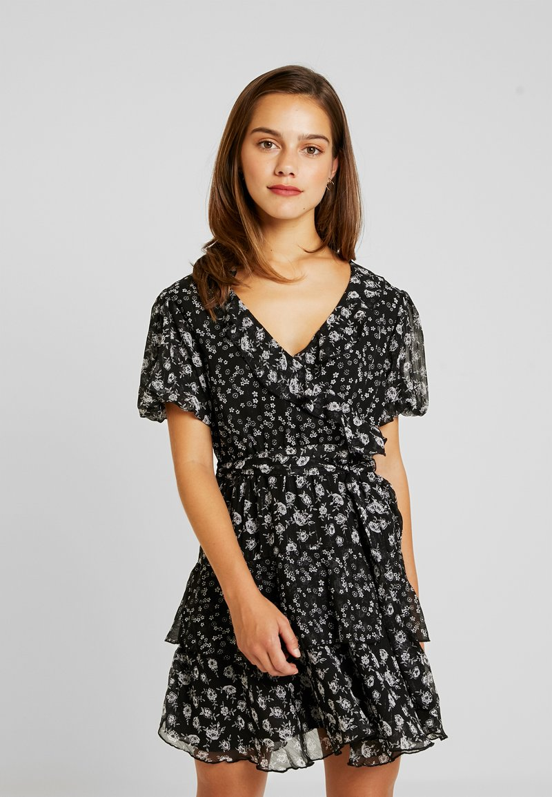 Topshop Petite - RUFFLE DITSY DRESS - Freizeitkleid - black
