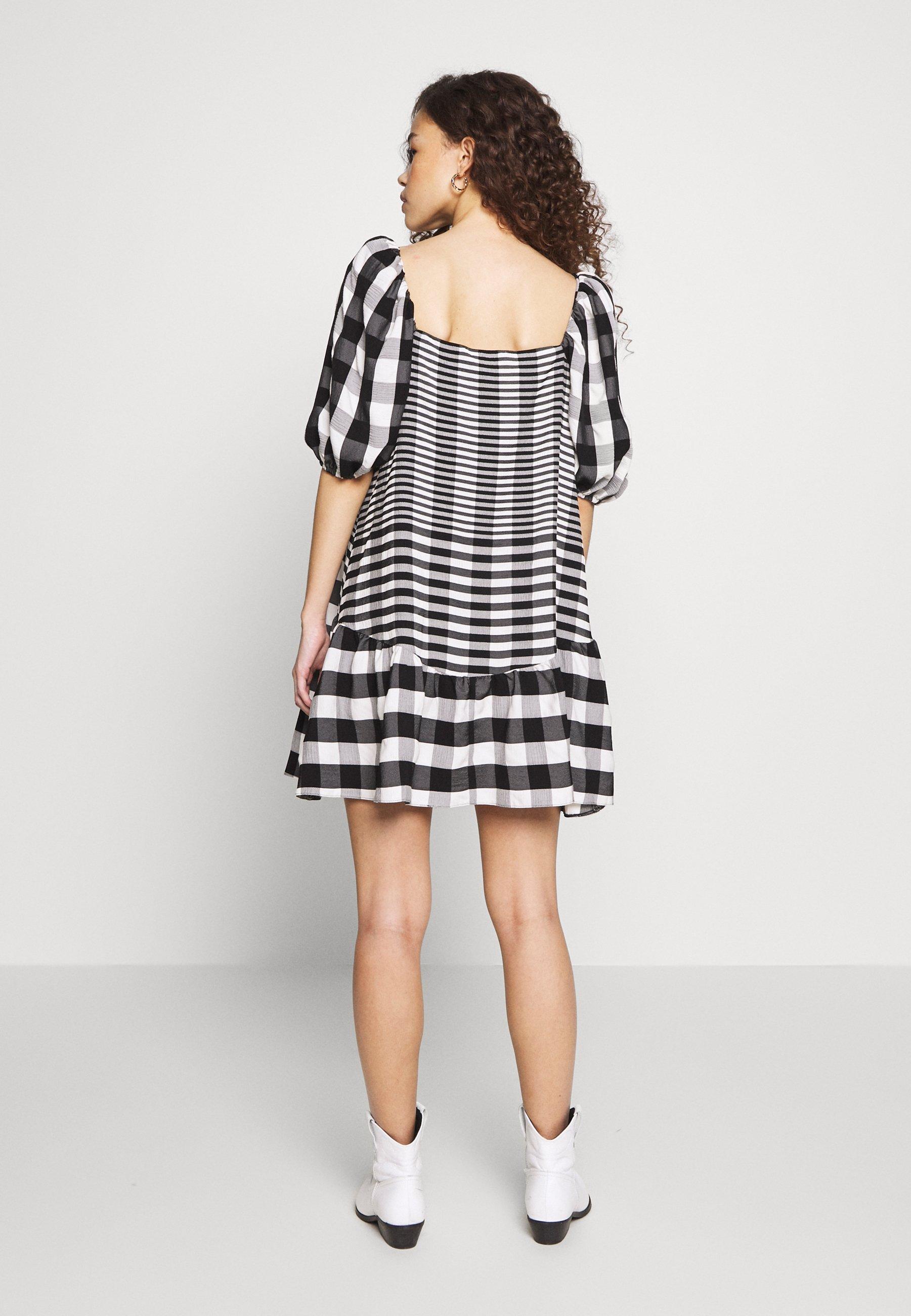 Topshop Petite Midi Textured Check - Day Dress Mono UK