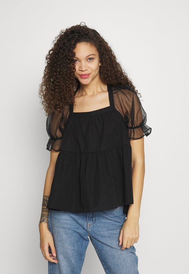 ORGANZA SMOCK TIRED - Korte jurk - black