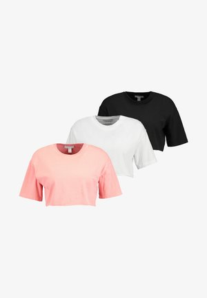 WASHED CROP TEE 3 PACK - T-shirt print - white/black/pink