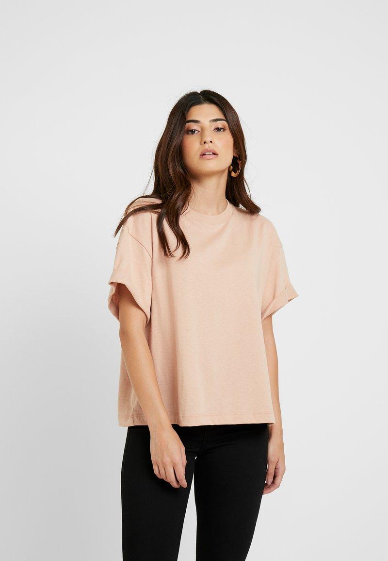 Topshop Petite - BOXY ROLL TEE 2 PACK - Print T-shirt - grey/pink