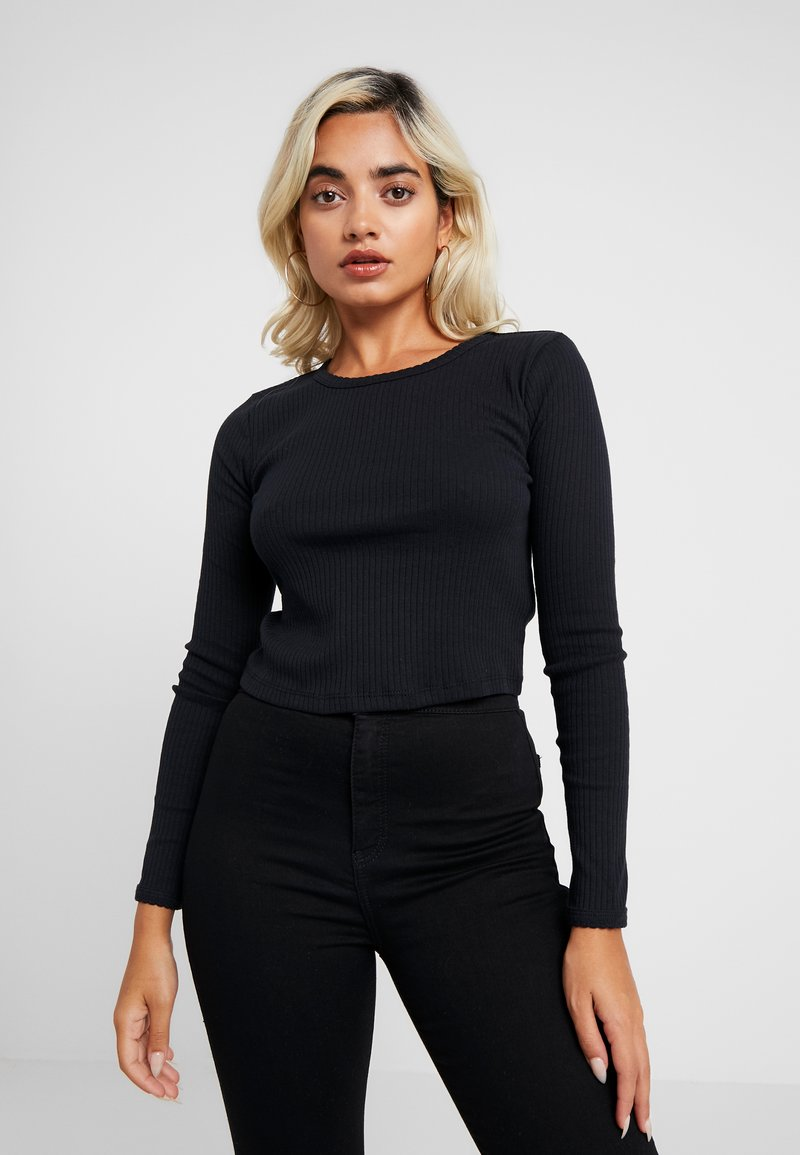 Topshop Petite - SCALLOP 2 PACK - Long sleeved top - black