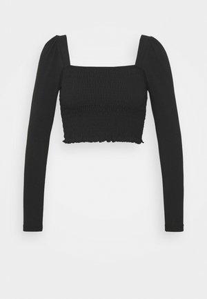 SHIRRED - Long sleeved top - black