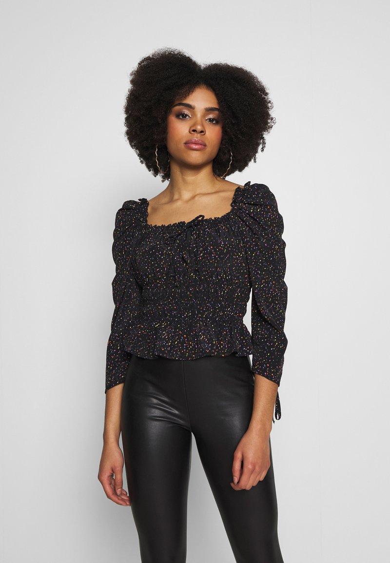 Topshop Petite - RUCHED PRAIRIE - Blouse - black