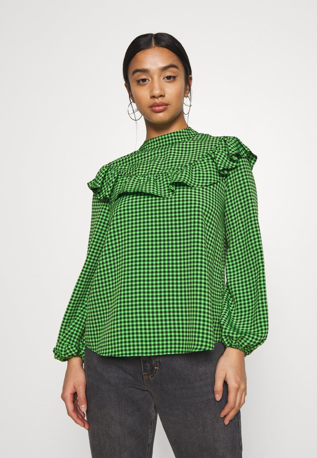 GINGHAM BLOUSE - Blouse - green