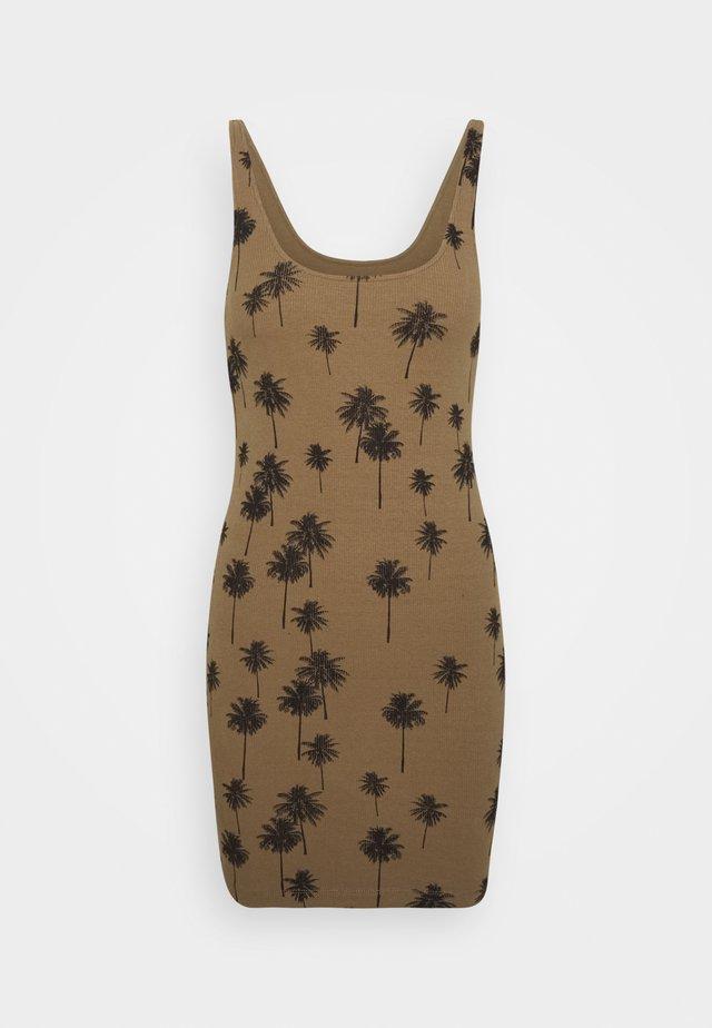 PALM PRINT TUNIC - Jersey dress - khaki