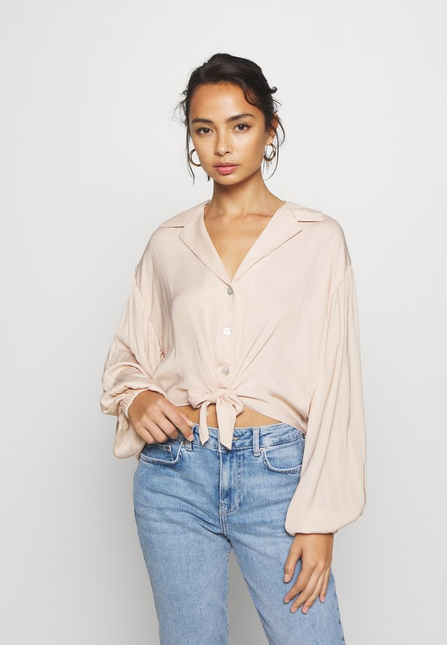 TIE FRONT - Button-down blouse - champagne