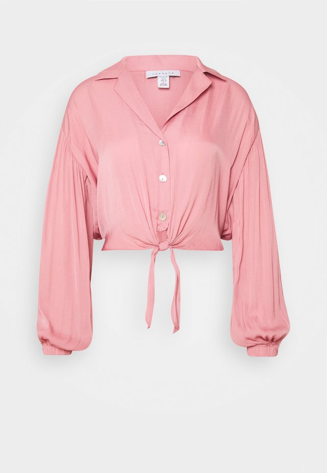 TIE FRONT - Blouse - pink