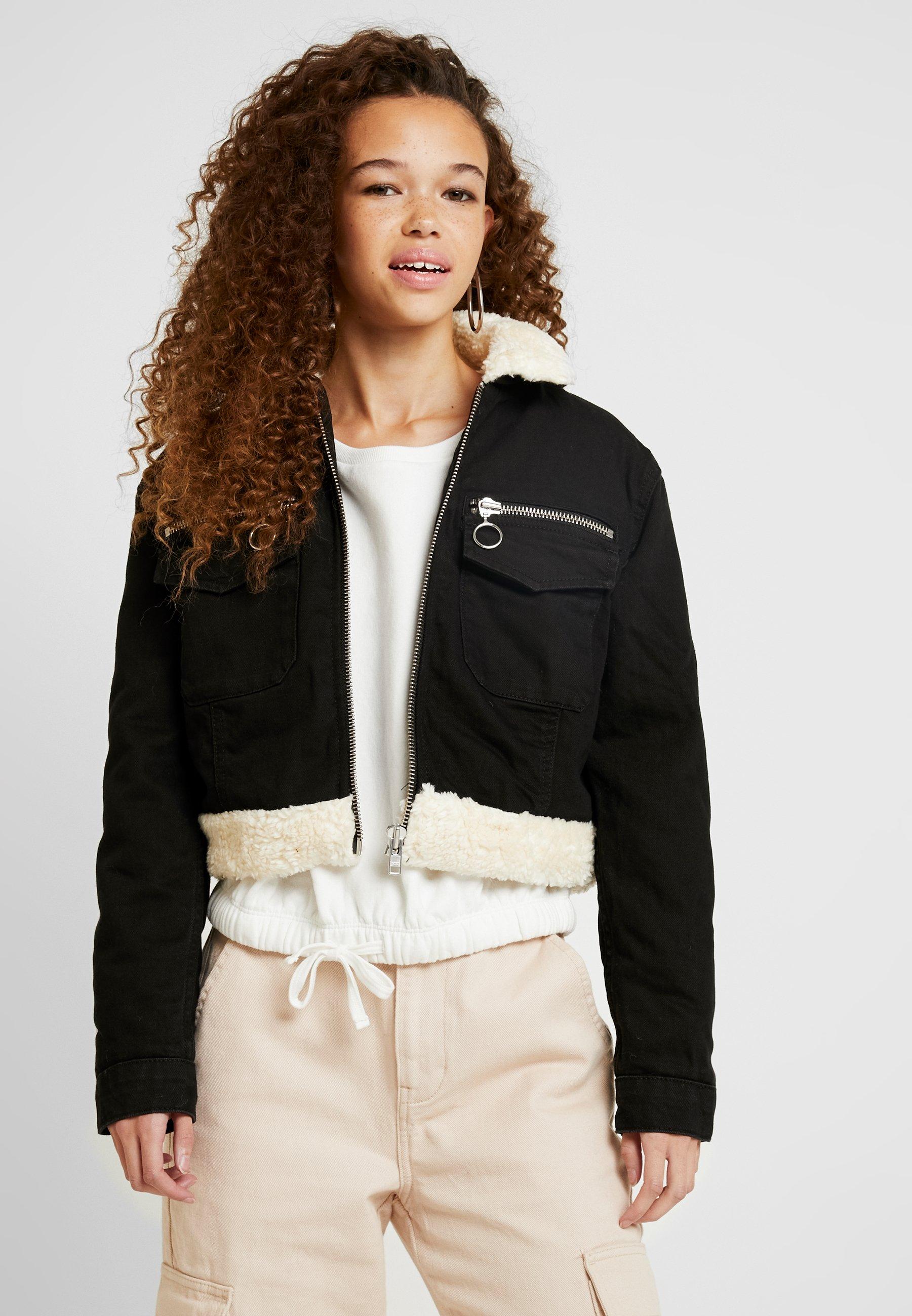 Topshop Petite Zip Thru Pocket Borg Jacket - Kurtka Jeansowa Black