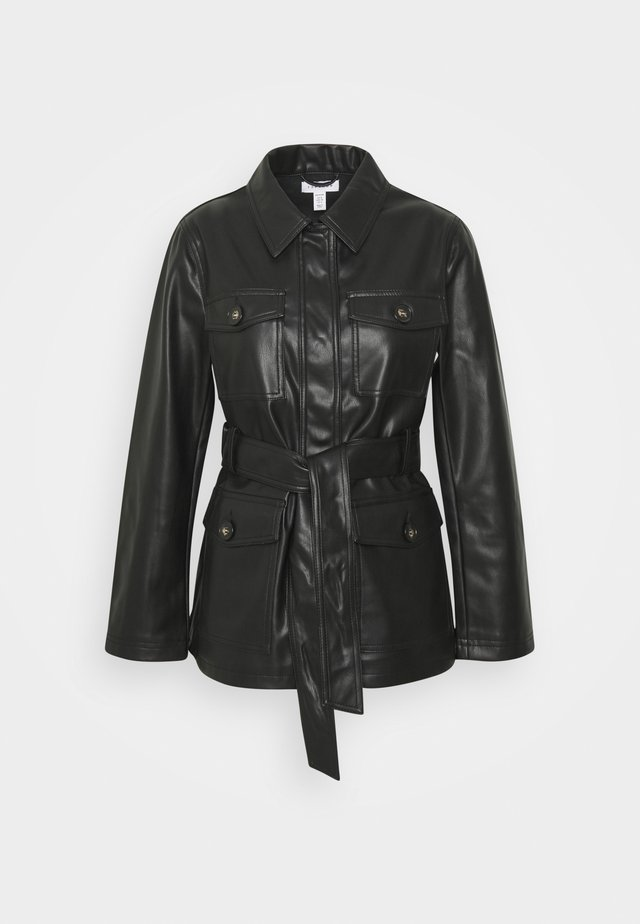 ELLE TIE - Leather jacket - black