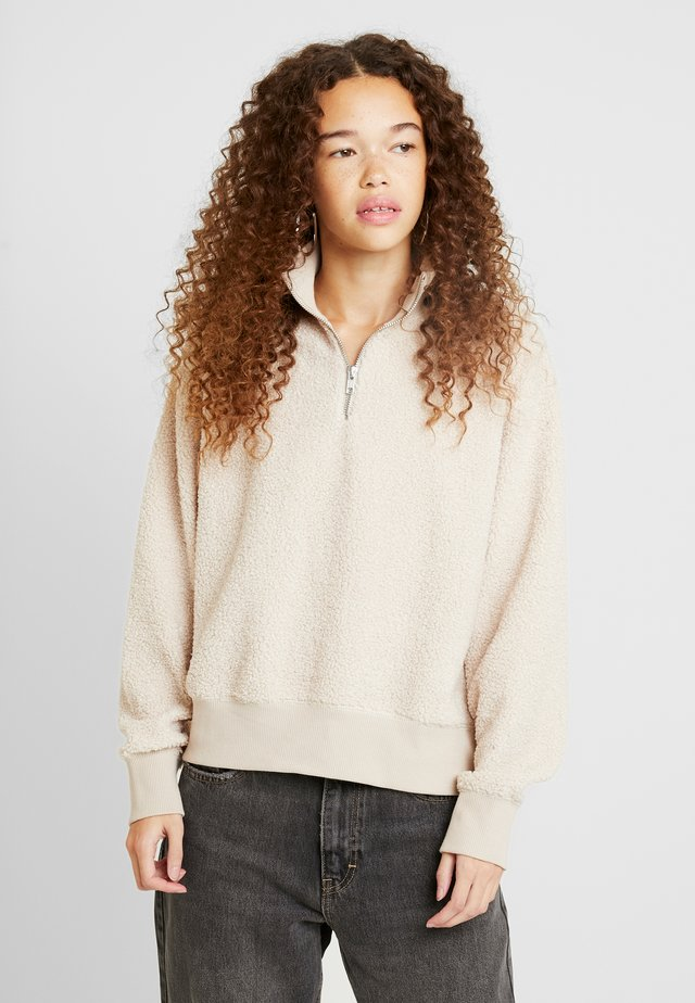 CURLY ZIP UP FUNNEL - Sweater - stone