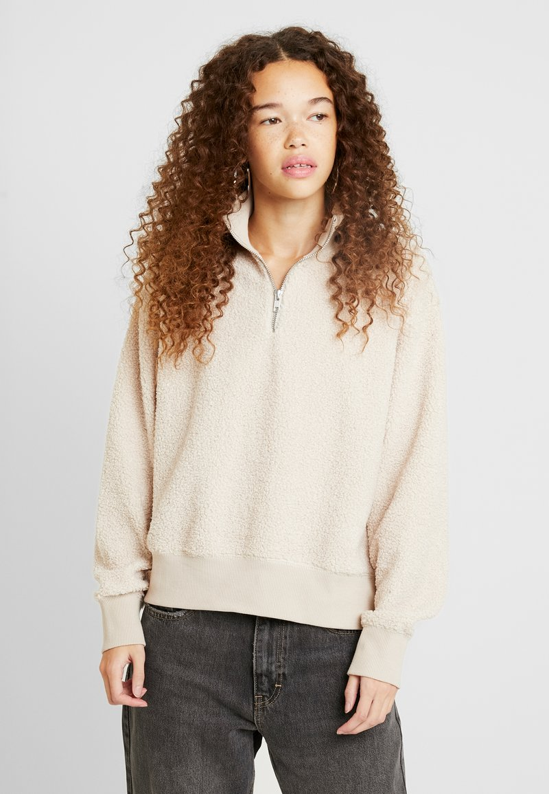 Topshop Petite - CURLY ZIP UP FUNNEL - Sweater - stone